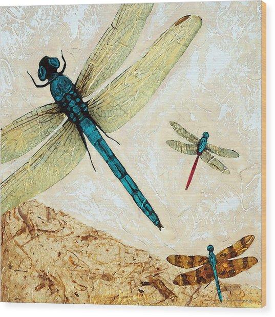 Zen Flight - Dragonfly Art By Sharon Cummings Wood Print