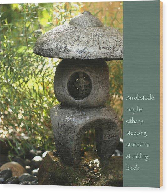 Zen Garden With Quote Wood Print