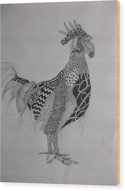 Zen Rooster Left Wood Print