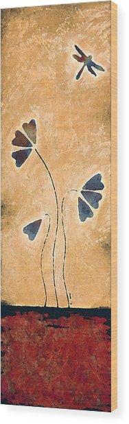 Zen Splendor - Dragonfly Art By Sharon Cummings. Wood Print