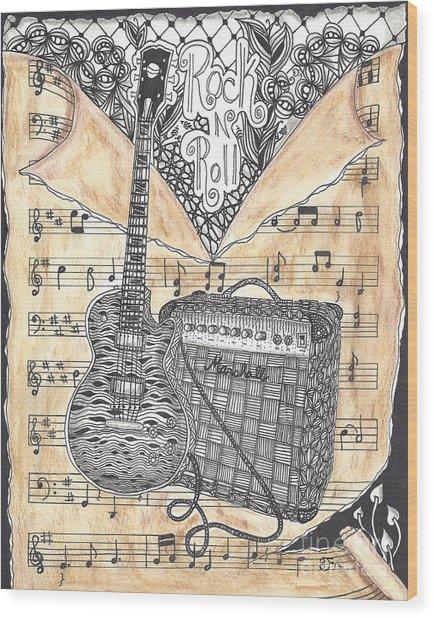Zentange Inspired Guitar Wood Print