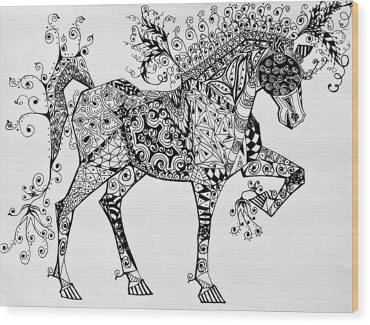 Wood Print featuring the drawing Zentangle Circus Horse by Jani Freimann