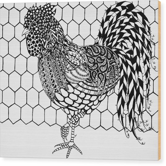 Zentangle Rooster Wood Print