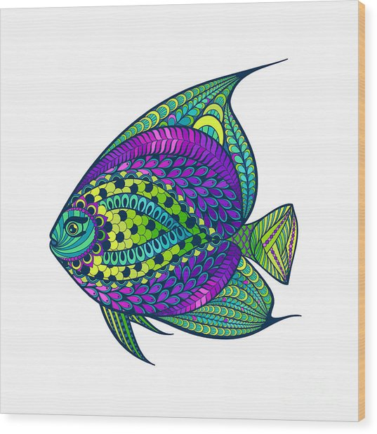 Zentangle Stylized Fish With Abstract Wood Print