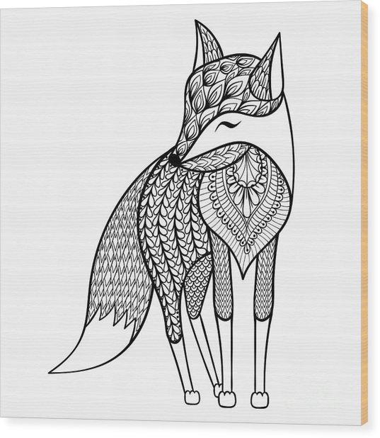 Zentangle Vector Happy Fox For Adult Wood Print