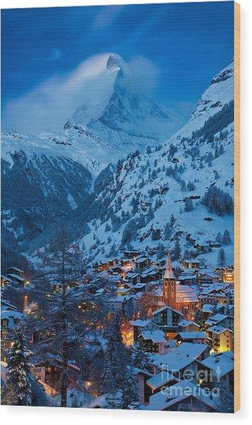 Wood Print featuring the photograph Zermatt - Winter's Night by Brian Jannsen