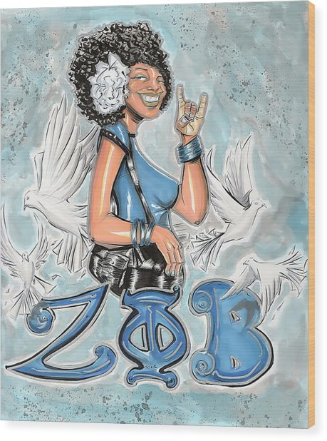 Zeta Phi Beta Sorority Inc Wood Print