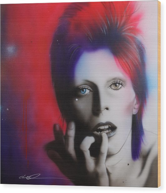 Ziggy Stardust Wood Print