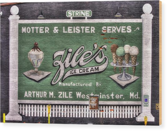 Ziles Ice Cream Mural - Taneytown Carroll County Md Wood Print
