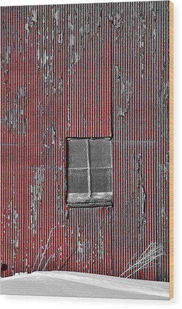 Zink Rd Barn Window Bw Red Wood Print