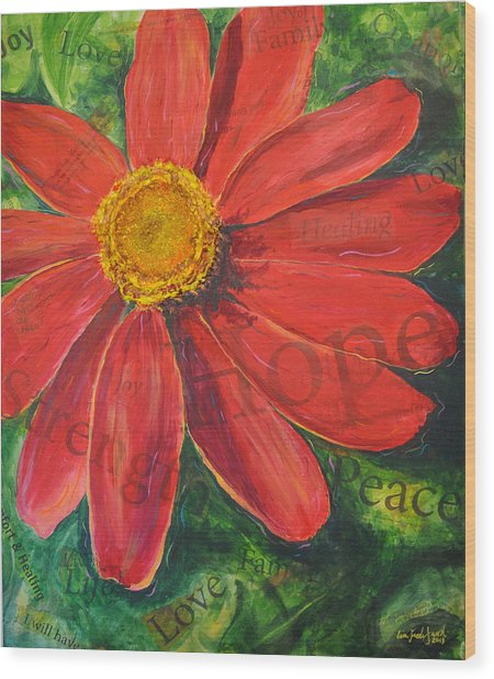 Zinnia Of Hope Wood Print