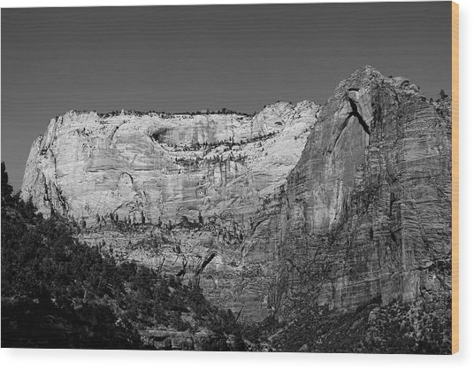 Zion Cliff And Arch B W Wood Print