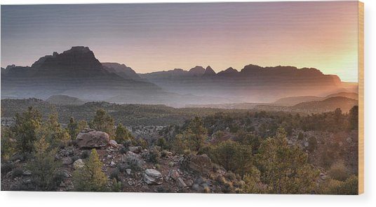 Zion Sunrise Wood Print by Leland D Howard
