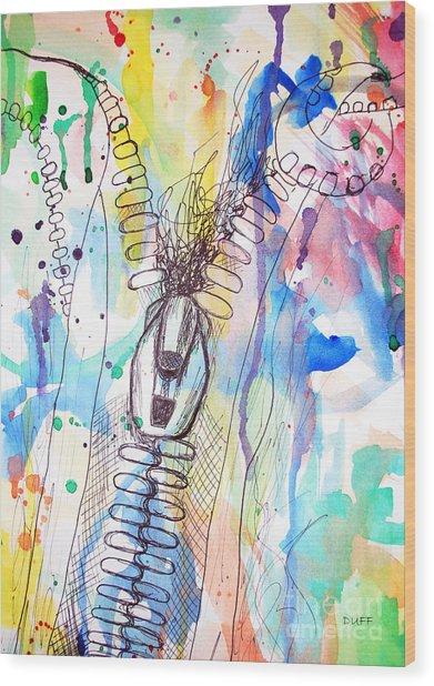 Zip It Wood Print by Josie Duff