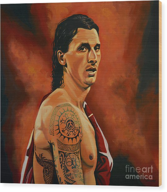 Zlatan Ibrahimovic Painting Wood Print