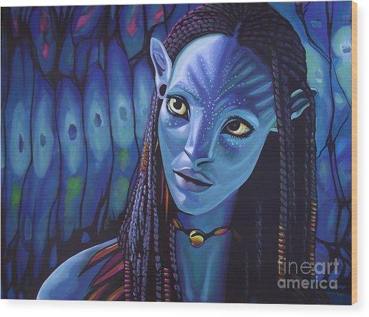 Zoe Saldana As Neytiri In Avatar Wood Print