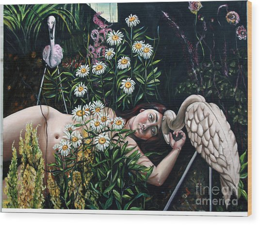 Zoe's Flamingo Wood Print by Shelley Laffal
