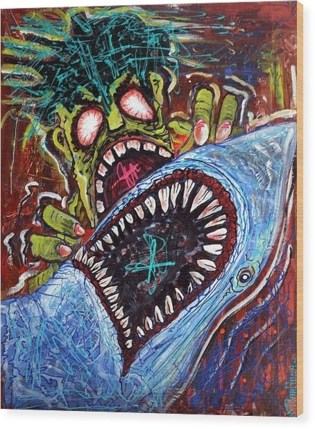 Zombie Shark Fight Wood Print by Laura Barbosa