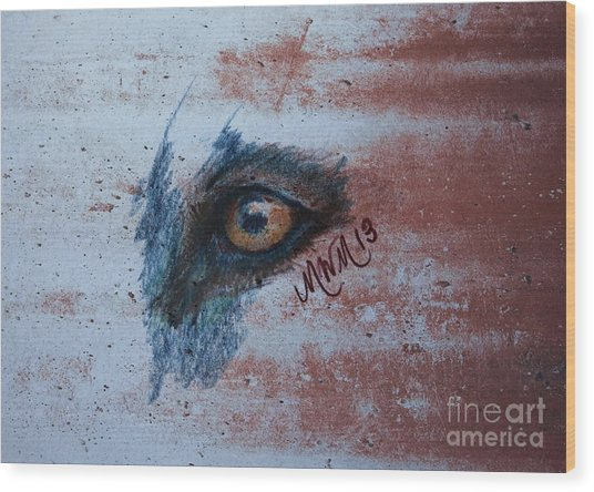 Zombie Wolf Eye Wood Print