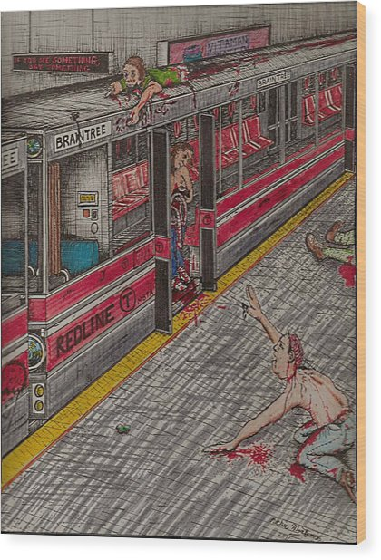 Zombies On The Red Line Wood Print