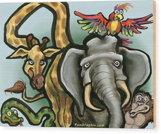 Zoo Animals Wood Print