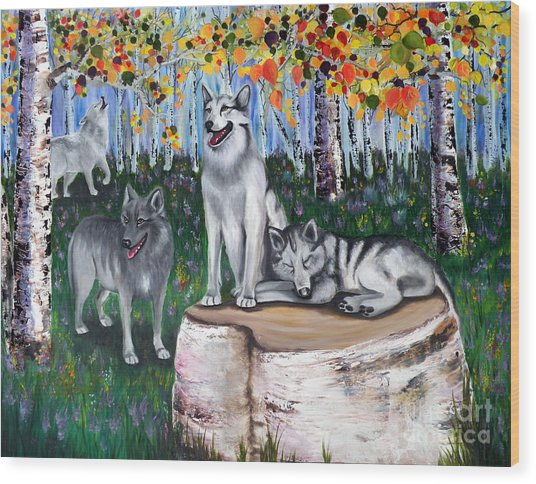 Zorros Wolves Amid The Aspens Wood Print