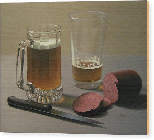 Zwei Bier Bitte Wood Print by Timothy Jones