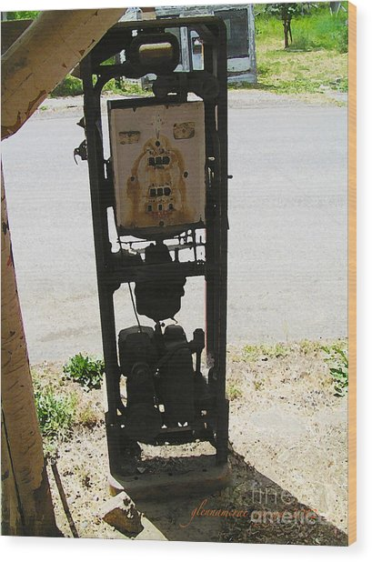 An American Vintage Gas Pump Series Two                    Wood Print by Glenna McRae