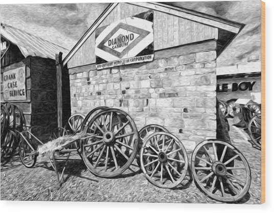 Antique Wagon Wheels Wood Print by James Steele