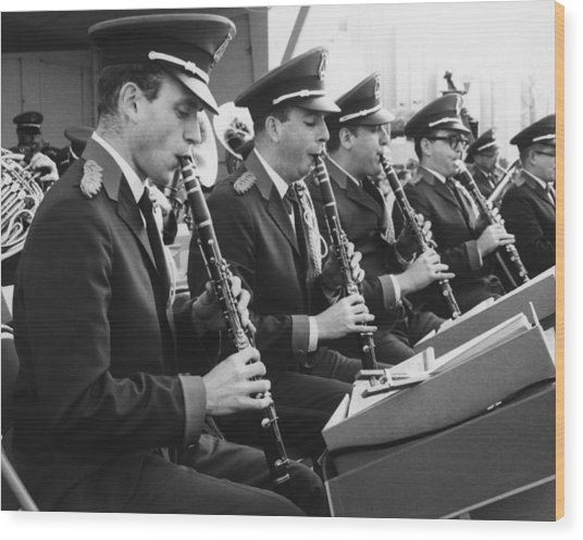 Brass Band Playing Outdoors, (b&w) Wood Print by George Marks