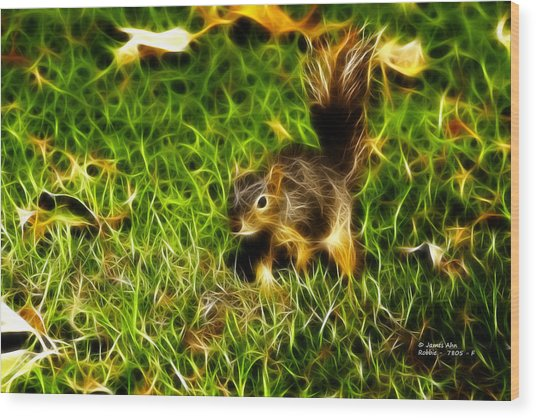 - Fractal - Pointer - Robbie The Squirrel Wood Print