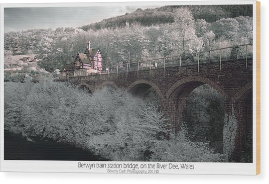 Infrared Train Station Bridge Wood Print