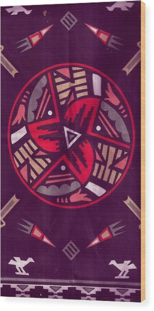 Native American Designs In The Round Wood Print by Anne-Elizabeth Whiteway