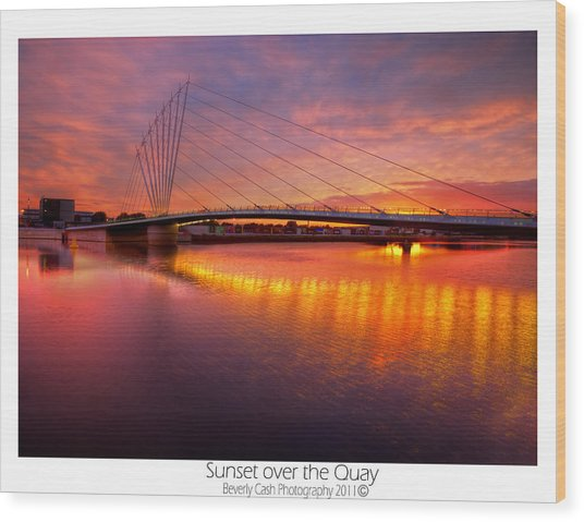 Sunset Over The Quay Wood Print