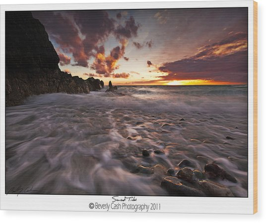 Sunset Tides - Porth Swtan Wood Print