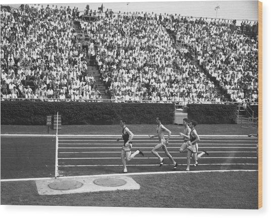 Track Athletes Running On Track, (b&w), Elevated View Wood Print by George Marks