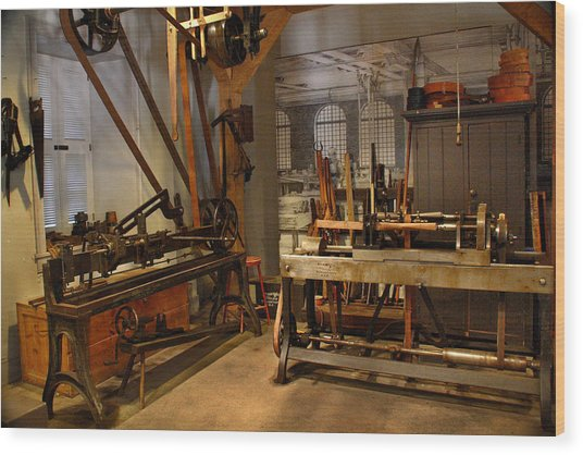 18th Century Machine Shop Wood Print
