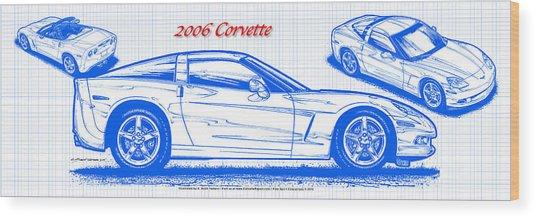 2006 Corvette Blueprint Series Wood Print