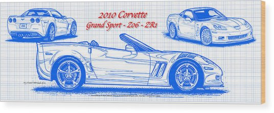 2010 Corvette Grand Sport - Z06 - Zr1 Blueprint Wood Print