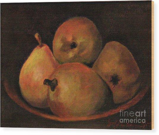 4 Pears Wood Print