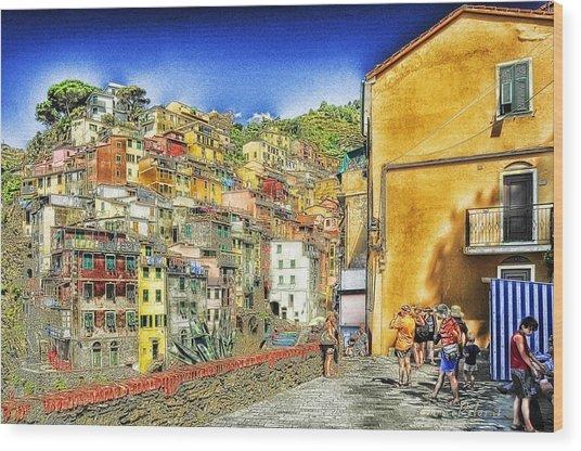 5 Terre Riomaggiore Landscape In Passeggiate A Levante Wood Print