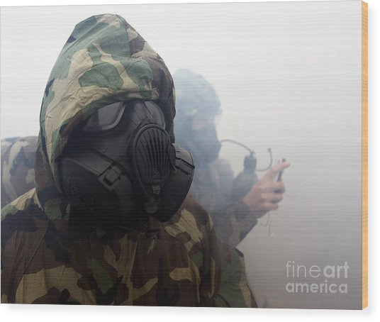 A Marine Wearing A Gas Mask Wood Print