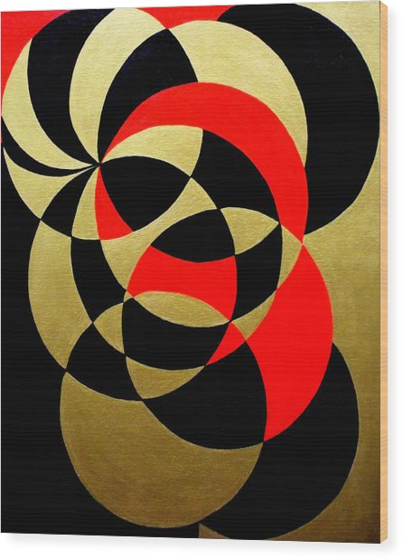 Abstract In Gold Black And Red Wood Print