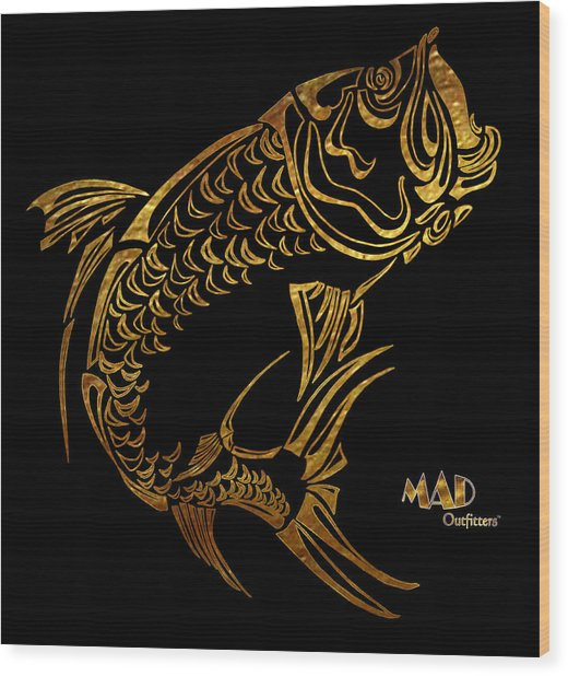 Abstract Tarpon Fishing Mad Outfitters Fish Design Wood Print by MAD Outfitters