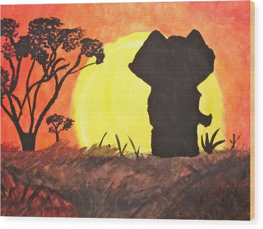 African Sunset Wood Print by Hannah Stedman