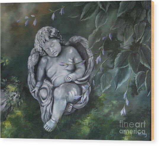 Angel In The Garden Wood Print