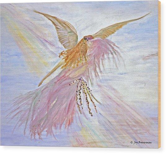 Angel-keeper Of The Rainbow Wood Print