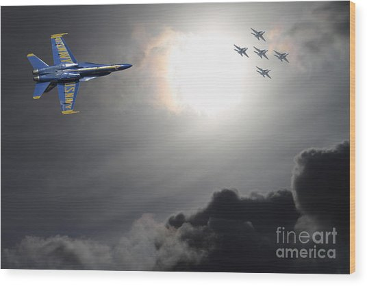 Angels In The Sky Wood Print by Wingsdomain Art and Photography