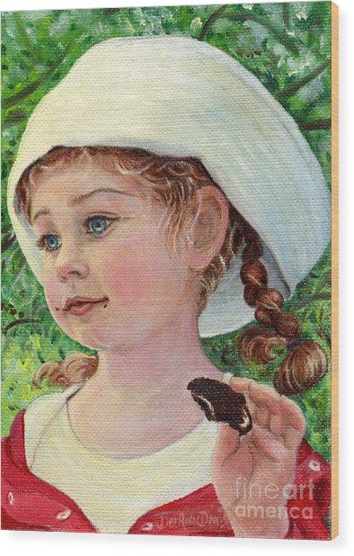 Annie In Dad's Sailor Hat Wood Print