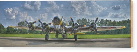 B-17 Wood Print by Williams-Cairns Photography LLC